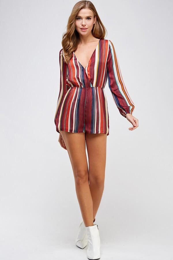 Striped V-neck Woven Romper (Red)
