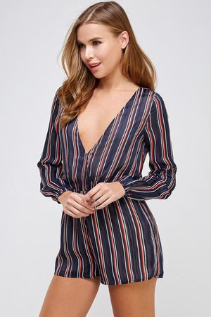Striped V-neck Woven Romper (Navy)
