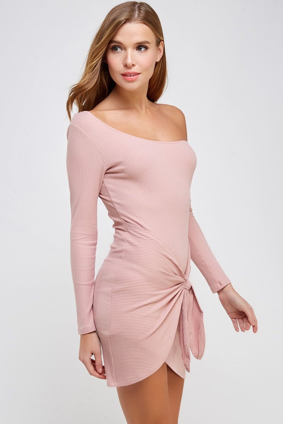 Front Tie Off Shoulder Rib Dress (Dusty Rose)
