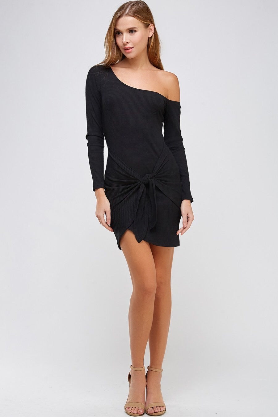 Front Tie Off Shoulder Rib Dress (Black)