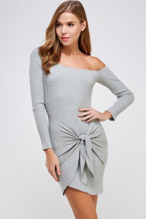 Front Tie Off Shoulder Rib Dress (Heather Grey)
