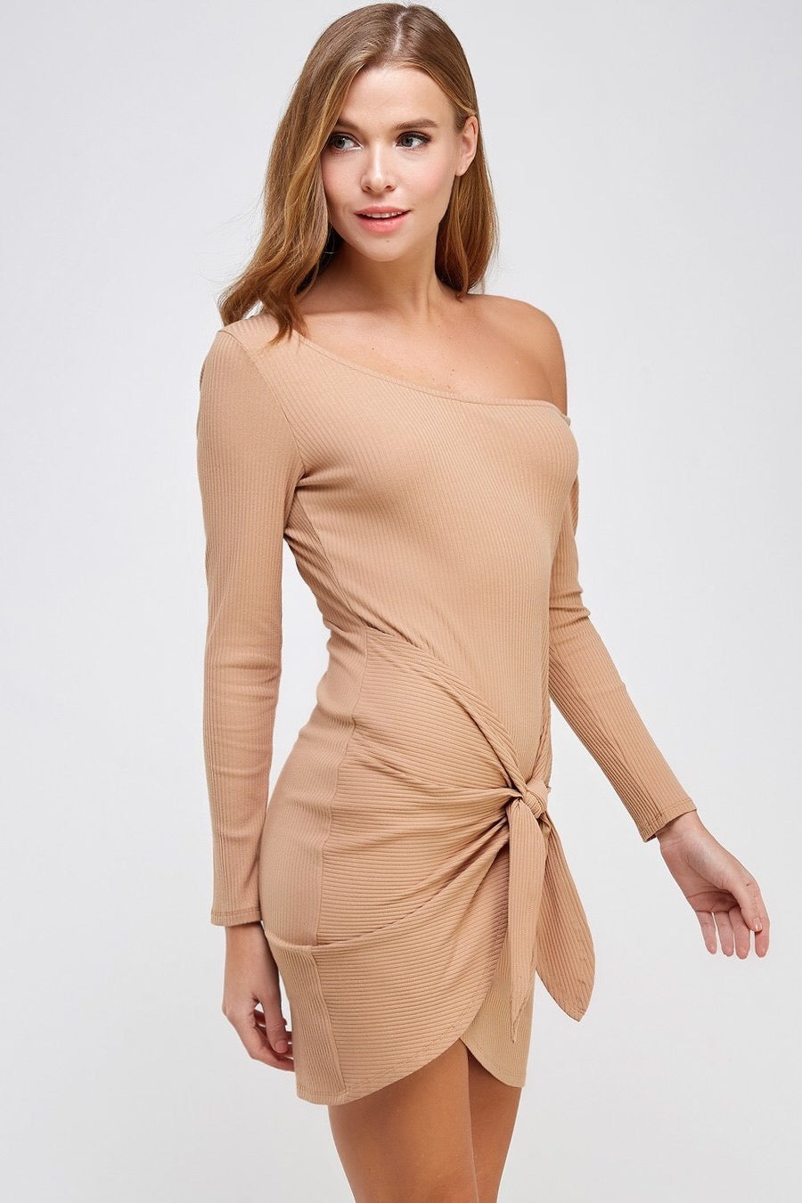 Front Tie Off Shoulder Rib Dress (Nude)