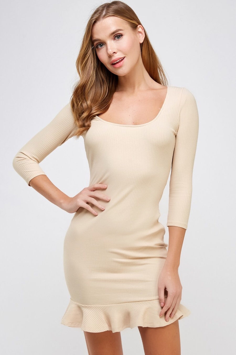 Square Neck 3/4 Sleeve Rib Dress