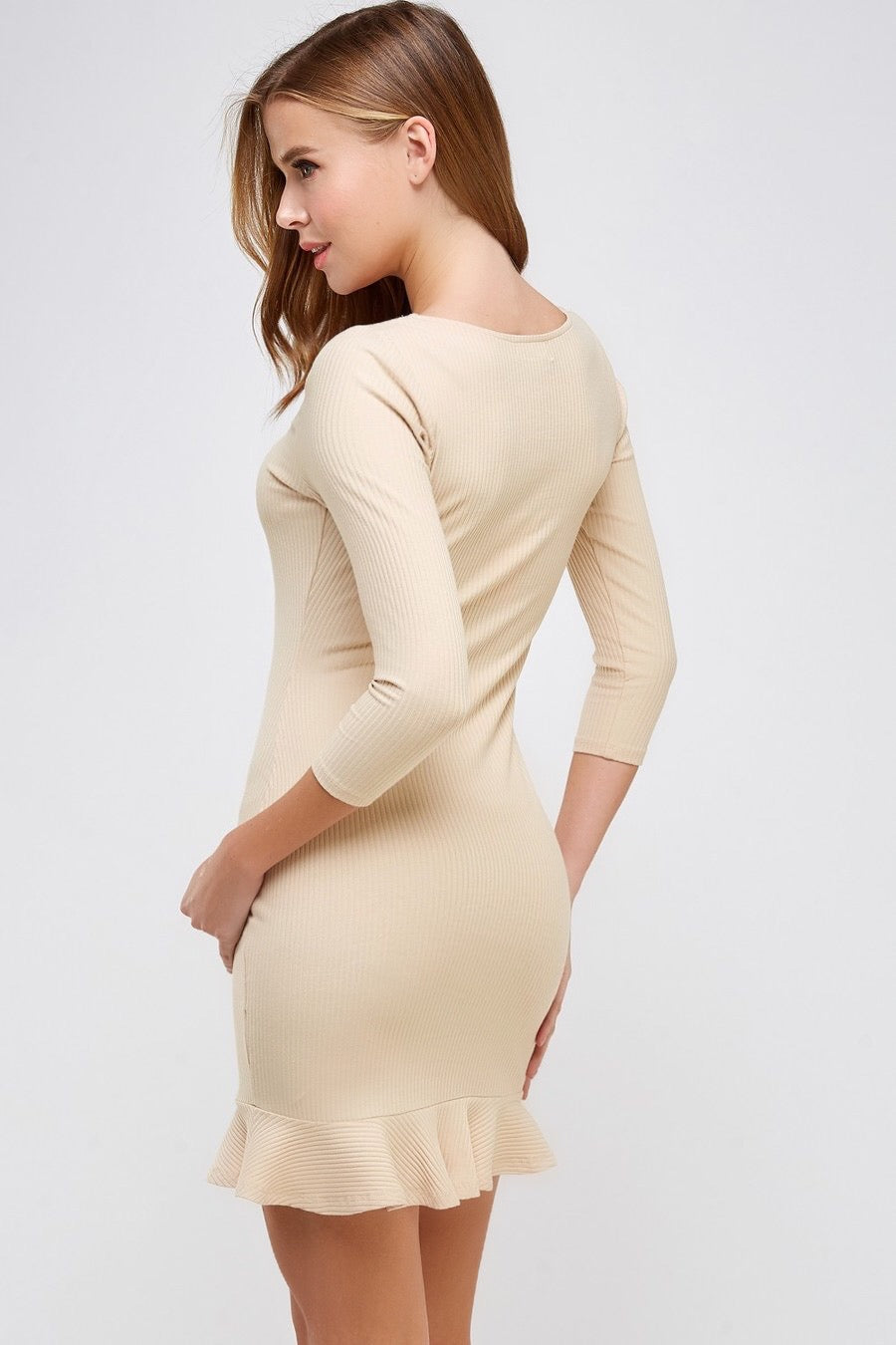Square Neck 3/4 Sleeve Rib Dress (Cream)