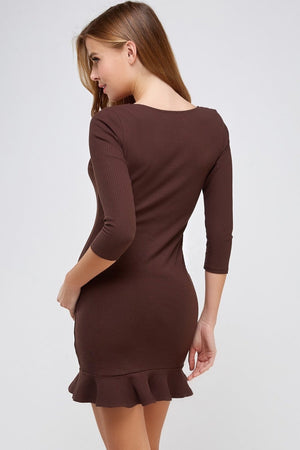 Square Neck 3/4 Sleeve Rib Dress (Dark Chocolate)