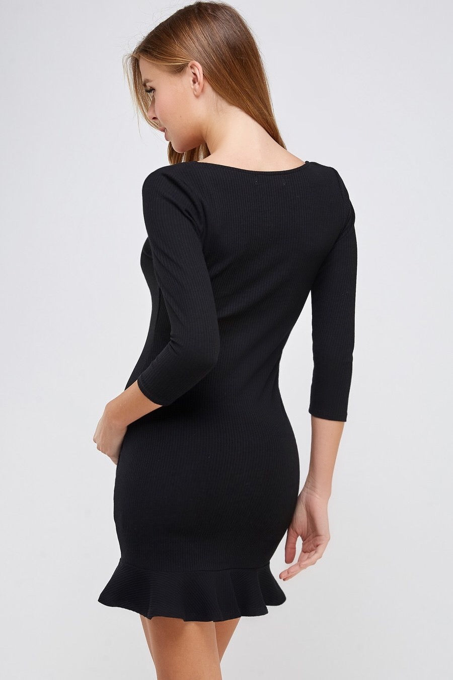 Square Neck 3/4 Sleeve Rib Dress (Black)