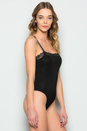 Lace Detail Cami Bodysuit (Black)