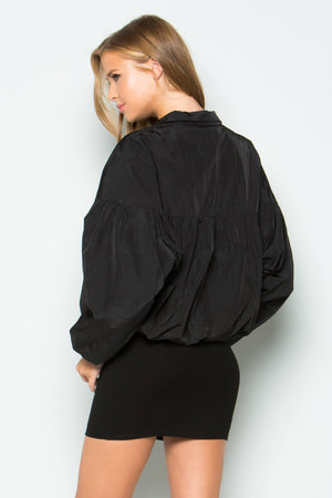 Nylon Puffer Crop Jacket (Black)