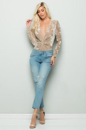 Crushed Velvet Front Tie Long Sleeve Bodysuit (Champagne)