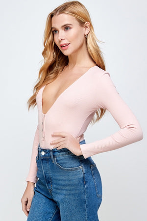 Snap Button V-neck Long Sleeve Bodysuit (Blush)