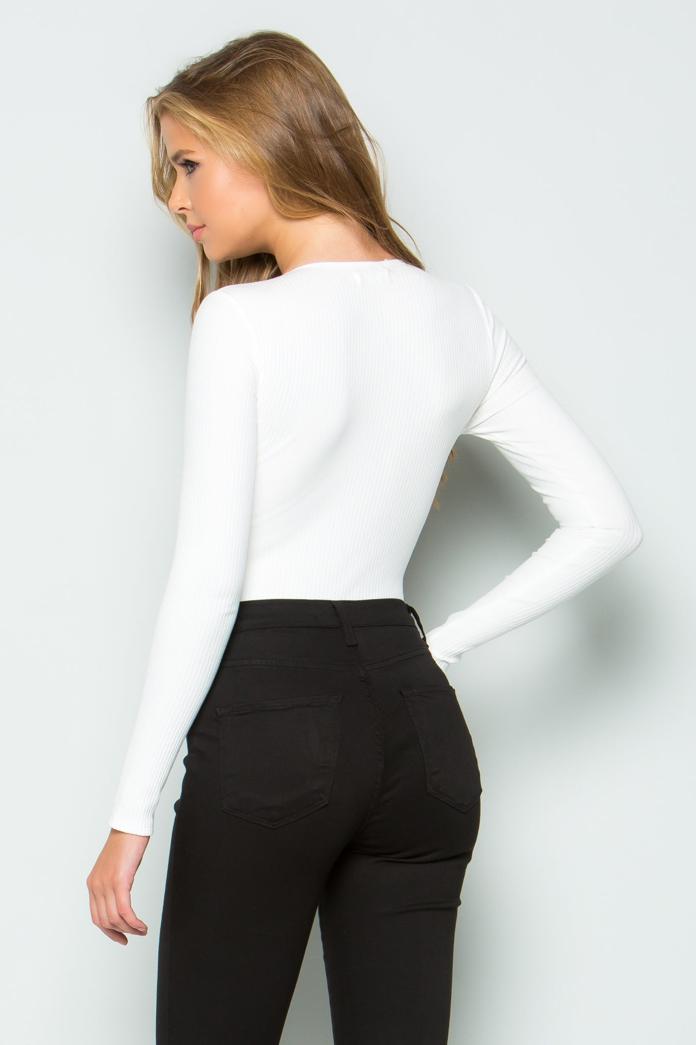 Snap Button V-neck Long Sleeve Bodysuit (White)