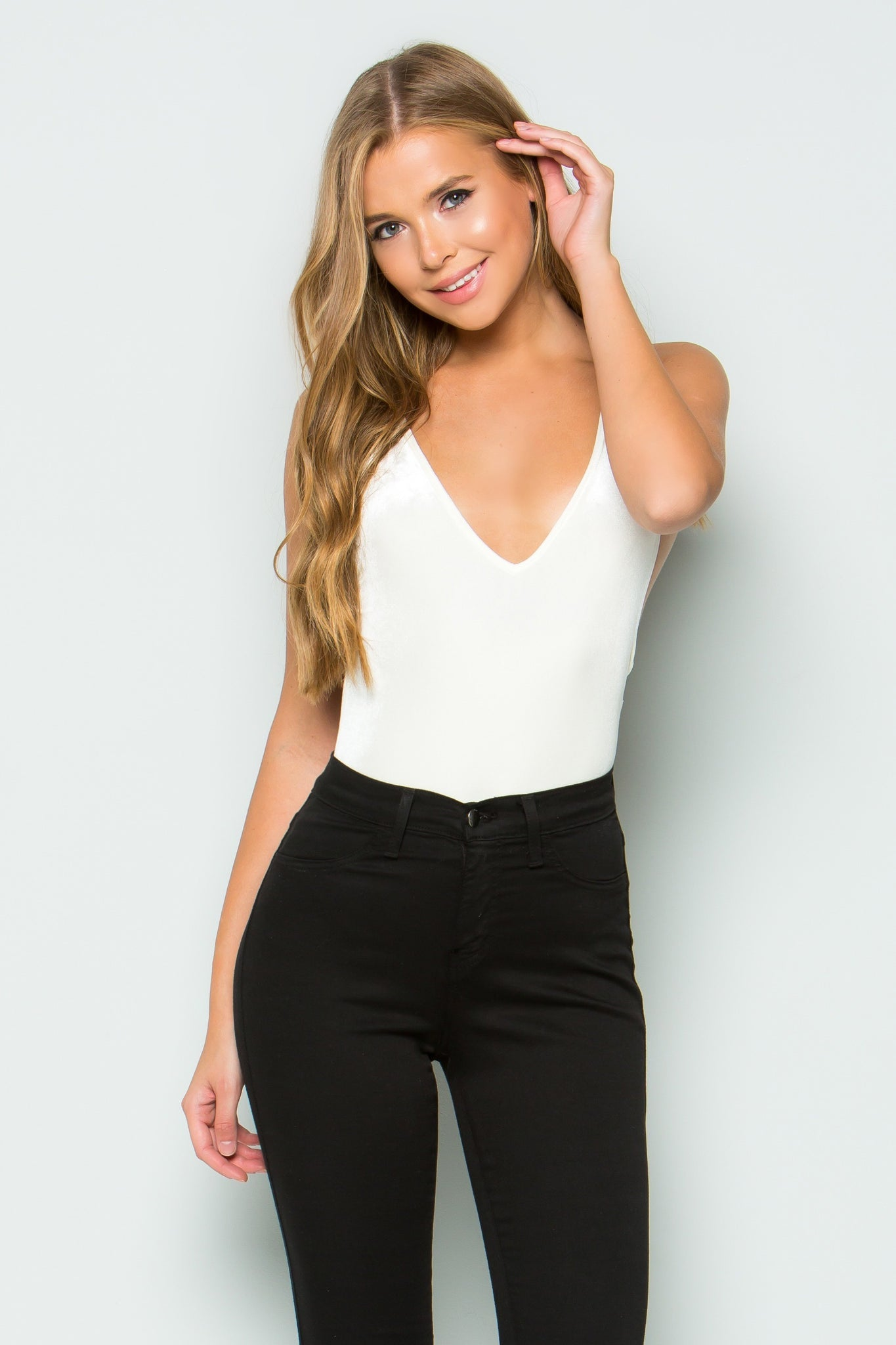Velvet Open Back Tank Bodysuit (White)