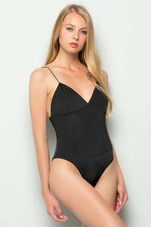 Cami Strap V-neck Bodysuit (Black)