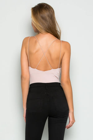 Deep V-strap Bodysuit (Blush)