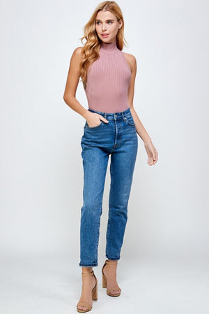 Sleeveless Turtle Neck Rib Bodysuit (Mauve)