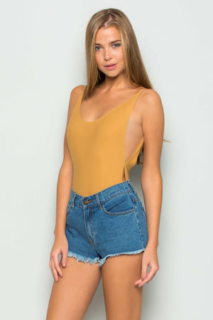 Deep Back Scoop Bodysuit (Tan)