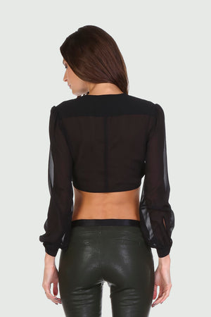 Front Tie Crop Blouse (Black)