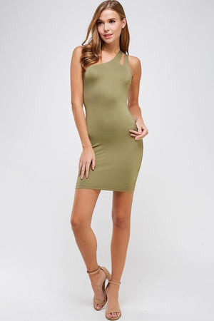 One Shoulder Cocktail Dress (Army Green)