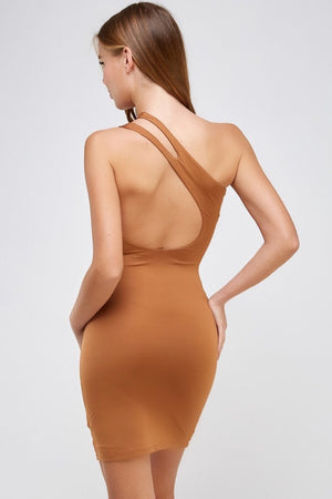 One Shoulder Cocktail Dress (Caramel)