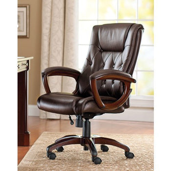 Heavy Duty Leather Executive Office Chair Rolling Computer Desk Chair - Air Capital eCom
