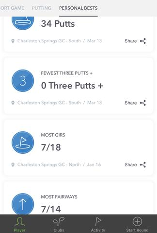 personal bests golf tracking