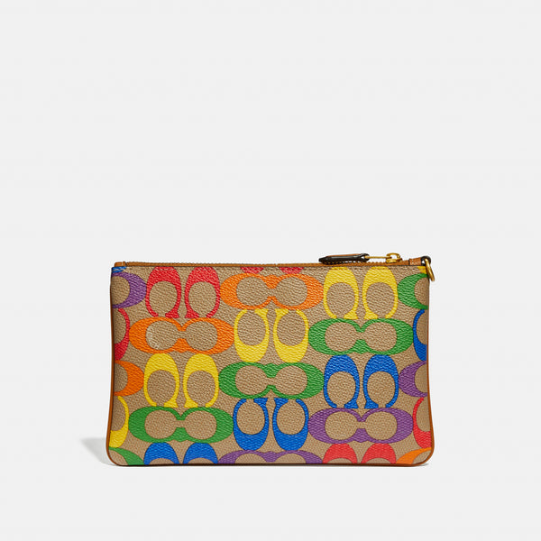 Excl Whls Rainbow Coated Canvas Signature Small Wristlet