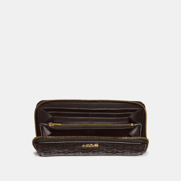 Coach Accordion Zip Wallet In Signature Leather