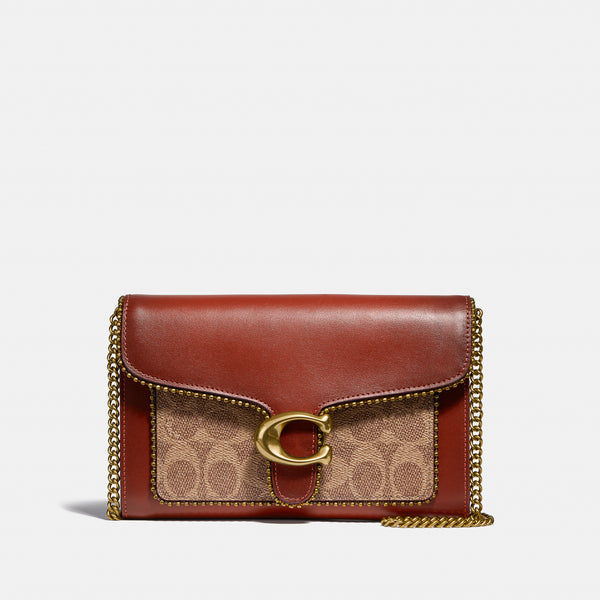 Coach Tabby Chain Clutch In Signature Canvas With Beadchain