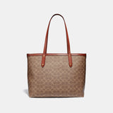 Coach Central Tote With Zip In Signature Canvas