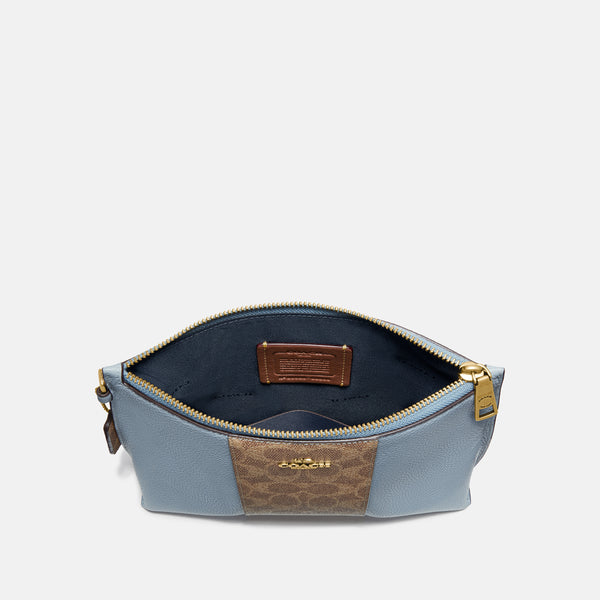 Coach Charlie Pouch In Blocked Signature Canvas