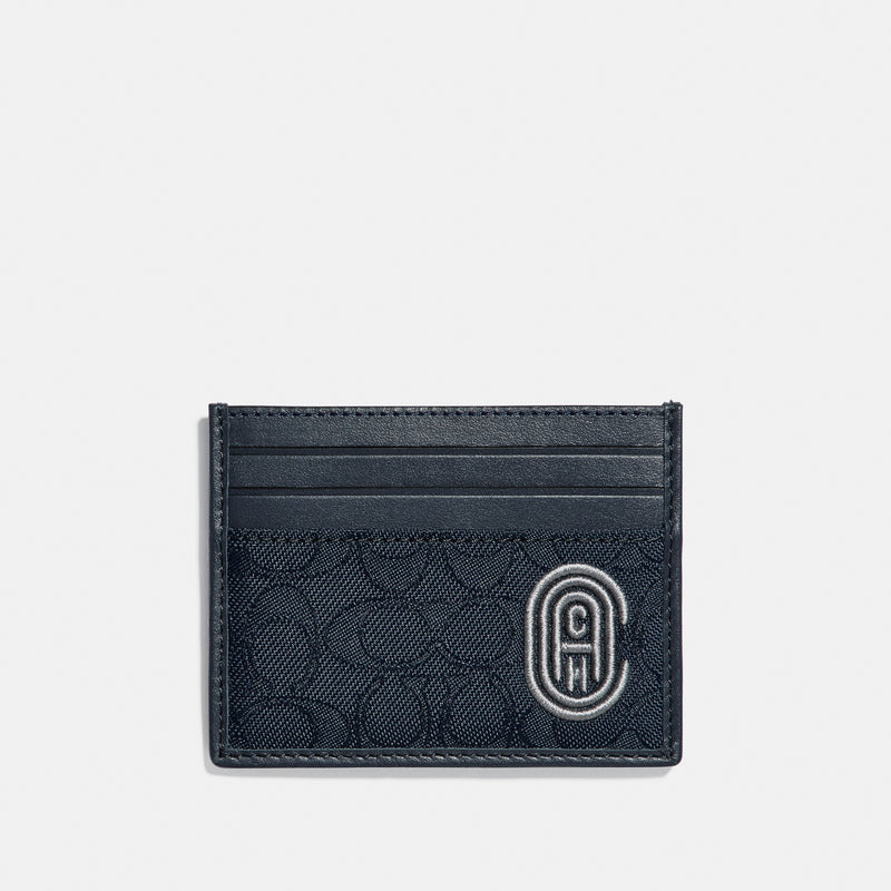 Coach Card Case In Signature Jacquard With Coach Patch