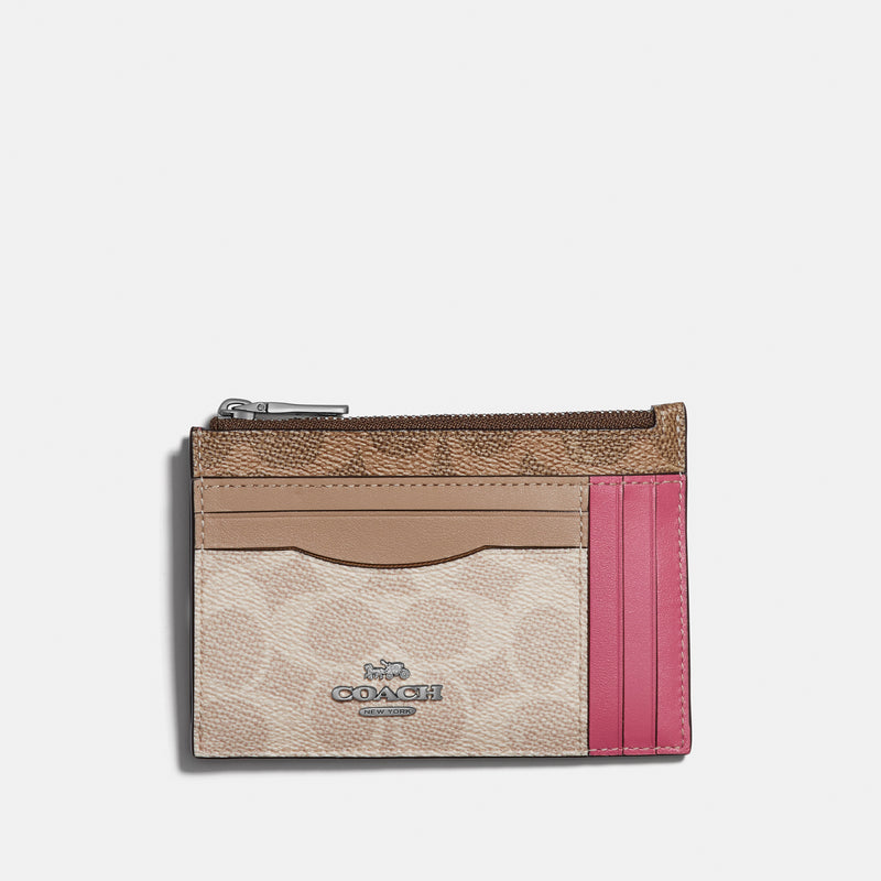 Coach Signature block large flat card case
