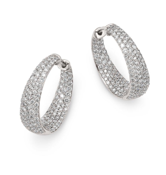 Roberto Coin White Earrings W/Diamonds And Ruby