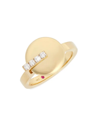 Roberto Coin Yellow-White Ring Diamonds And Ruby