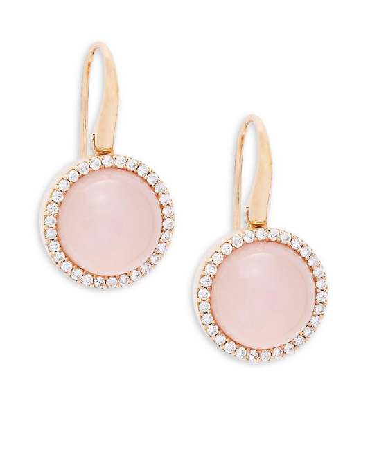 Roberto Coin Rose Earrings W/Dias+Pnk Qtz+Mop+Ru
