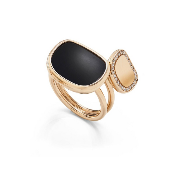 Roberto Coin Rose Ring W/Diamonds+Black Jade+Rub