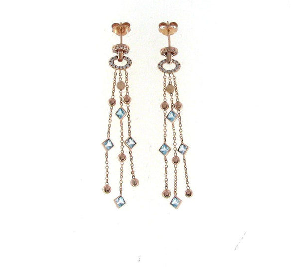 Roberto Coin Rose Earrings W/Dias+Blue Topaz+Rub