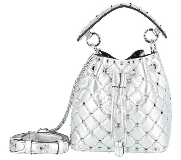 VALENTINO ROCKSTUD SPIKEMETALLIC  SMALL BUCKET BAG