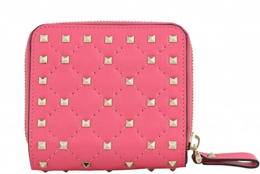 VALENTINO ROCKSTUD SPIKE ZIP AROUND FRENCH WALLET