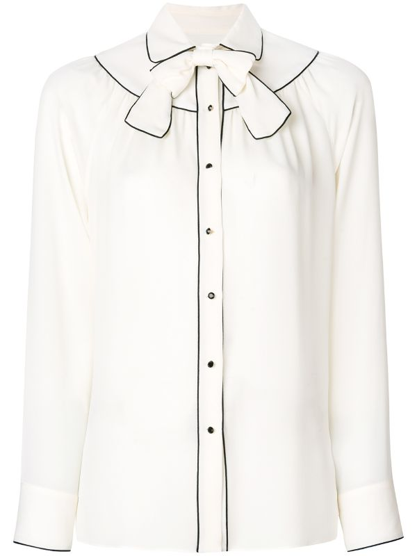 VALENTINO GEORGETTE BLOUSE WITH KNOT COLLAR