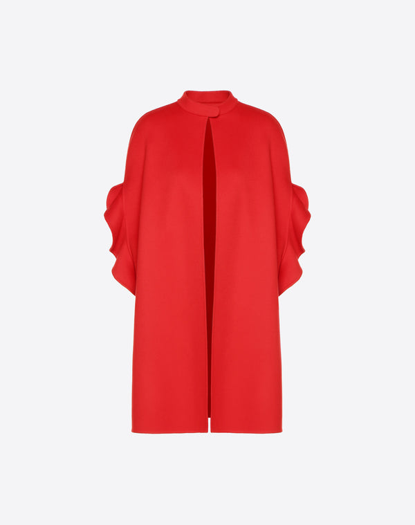 VALENTINO COMPACT DRAP CAPE WITH FRILL SLEEVE