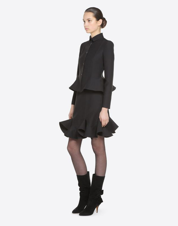 VALENTINO CREPE COUTURE SKIRT WITH FRILL