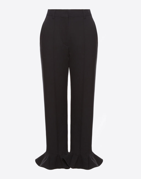 VALENTINO TROUSER IN STRETCH WOOL WITH FRILL