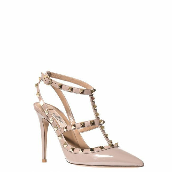 VALENTINO PATENT ROCKSTUD ANKLE STRAP PUMP 100 MM