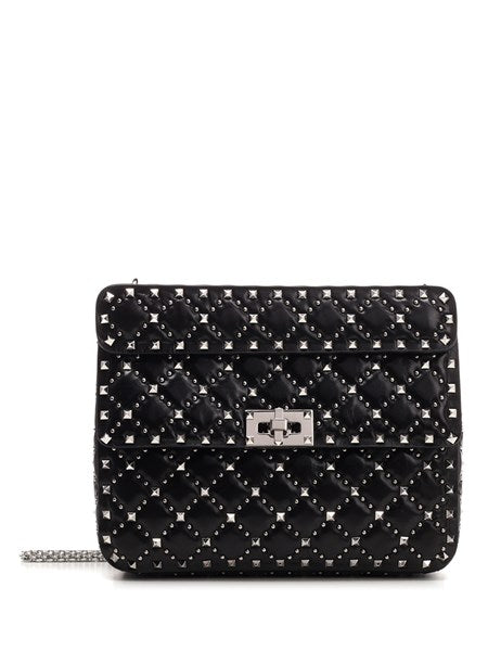 VALENTINO ROCKSTUD SPIKE WITH MICRO STUDS MEDIUM SHOULDER BAG