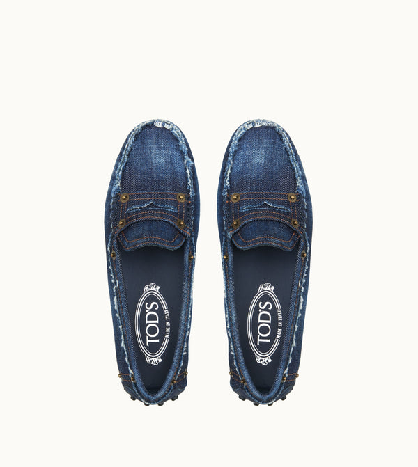 Tod's Gommino Driving Shoes In Denim