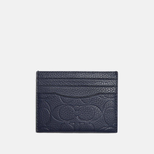 Coach Signature leather flat card case
