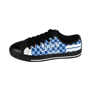 Saucy Unlimited Blue Checkers/White Type