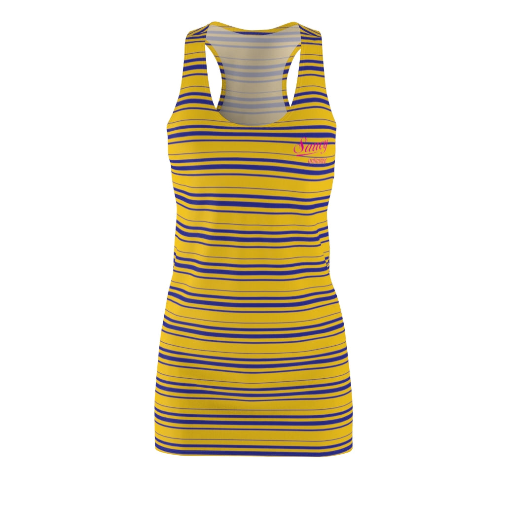 Yellow SAUCY UNLIMITED Women's Cut & Sew Blue Stripe Racerback Dress