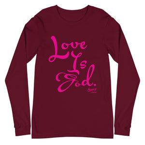 Magenta copy on Maroon Unisex Long Sleeve T-shirt